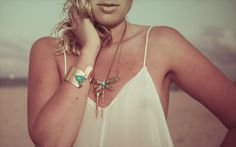 Dragonfly turquoise pendant  brass necklace BISJOUX : pure