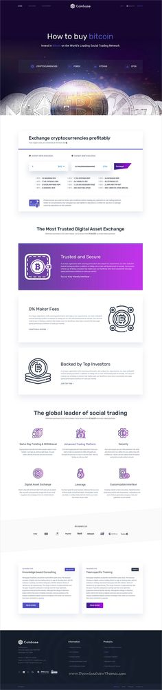 Coinbase is clean and modern design PSD template for #bitcoin and #cryptocurrency exchange and trading company website with 11 layered #PSDfiles to live preview & download click on image or Visit