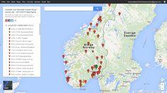 Aktivt kart som viser savnede hunder i Norge. https://www.google.com/maps/d/u/0/viewer?mid=zsrQHYFhqIVQ.k_kvXW46z2ns