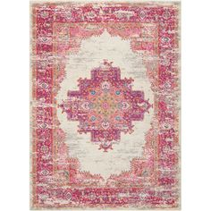 Enliven your floor space with a pop of color with the Passion Rug from Nourison. Featuring a gorgeous medallion design framed by a coordinating distressed geometric pattern, this rug adds luxury to your space. Mini Bad, Rectangular Rugs, Signature Design, Rug Material, Floral Rug, Decoration, Colorful Rugs, Vintage Rugs, Bohemian Rug