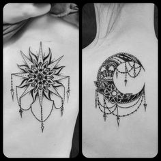Sun&moon sister tattoos done by Rabbit at Ascending Lotus TattooVancouver, WA More