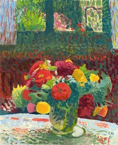 Cuno Amiet: Multicolored Zinnia Bouquet