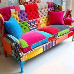 DIY Patchwork Sofa colors aren't all for me, but love the idea! Funky Furniture, Colorful Furniture, Furniture Makeover, Bedroom Furniture, Furniture Design, Colorful Couch, Bedroom Sofa, Furniture Outlet, Discount Furniture
