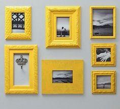Composição de molduras amarelas