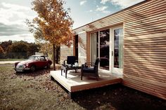 Tiny house with folding deck