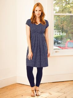 Navy Spot Maternity and Nursing Tunic Dress | JoJo Maman Bebe