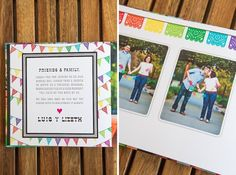 Cinco de Mayo Mexican fiesta wedding engagement photo guestbook designed by The Goodness Wedding Engagement, Engagement Photos, Wedding Designs, Wedding Ideas, Photo Guest Book, Mexican American, Guestbook, Graphic Designers, Luau