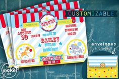 Circus party invitations Carnival Party Invitations, 1st Birthday Invitations Boy, Carnival Birthday Invitations, Carnival Themed Party, Circus Birthday, Birthday Parties, Birthday Ideas, Happy Birthday, Carnival Baby Showers