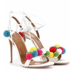 58.66$  Buy now - 2016 summer newest novel multi-color pom pom embellished high heel sandal lace up ankle strap colofurful pellet sweet sandals  #aliexpresschina