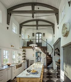 Double-volume kitchen with ceiling trusses and spiral staircase // Historic Greek Revival Home, Vermont Luxury Kitchen Design, Dream Home Design, My Dream Home, Home Interior Design, House Design, Interior Ideas, Interior Architecture, Casas Country, Greek Revival Home