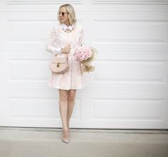 Shop lombard and fifth collared dress, chloe drew bag, pink garden roses, blush mirrored glasses