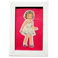 Little Girl in Nightie /Dress on Pink. 12.5 x 17.5cm Frame - The vintage style 'Little Girl' prints are available with either aqua or hot pink backgrounds and come in a 12.5cm x 17.5cm frame.