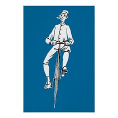Vintage Bicycle Guy Smoking Cigar Graphic Funny Poster  #vintage #bicycle #iconographique
