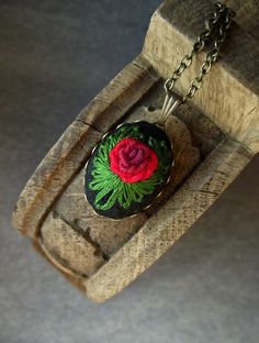 Pendant with hand embroidered rose by ZoZulkaart on Etsy