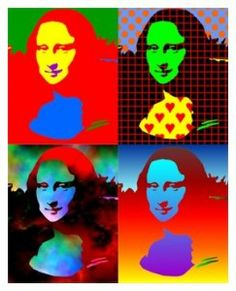 The Mona Lisa pop culture art Andy Warhol, Casa Pop, Pop Art Images, Popular Paintings, Classic Artwork, Pop Art Portraits, Famous Artwork, Outline Drawings, Middle School Art