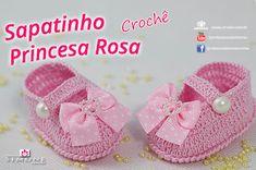 Patrones Crochet, Manualidades y Reciclado: ZAPATO DE BEBE PRINCESA ROSA PASO A PASO CON VIDEO...