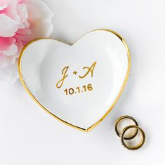 Monogrammed Ring Dish with Gold Rim Heart Ring Dish Ring