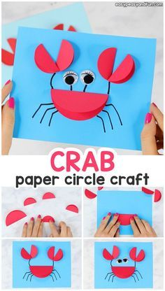 Paper Circle Crab Craft - Easy Peasy and Fun. - Paper crafts - Paper Circle Crab Craft – Easy Peasy and Fun… - Crab Crafts, Fun Diy Crafts, Paper Crafts For Kids, Preschool Crafts, Diy Paper, Decor Crafts, Craft Activities, Paper Crafting, Holiday Crafts
