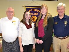 Strabane Optimist Club president Allan Angle (left) and Oratorical Competition co-ordinator Stephen Collins congratulate Jess Blenkarn (second from left) on placing first and Mikayla Ringelberg for placing second in this year's public speaking contest March 9 at Strabane United Church.
