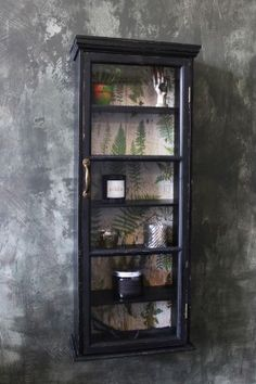 Tall & Slim Distressed Black Wall Cabinet with Botanical Lining…