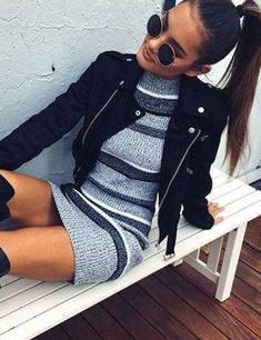 Knitted dress + leather jacket