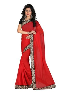 New Red & Black Designer Georgette Saree With Lace Work