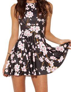 Womens Modest Cherry Blossom Digital Print Sleeveless Pleat Dress