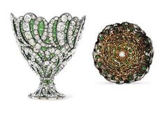 A MAGNIFICENT SWISS GOLD, DIAMOND AND EMERALD-SET ZARF