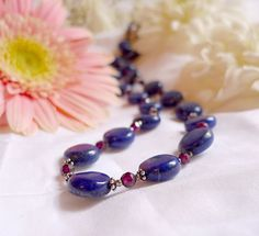 Natural lapis lazuli necklace with faceted garnet by OphieEmporium