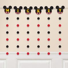Decorate your clubhouse for a Disney party with a Mickey Mouse Forever String Garland Kit! The set includes a garland with Mickey's silhouette and black and red dot strings. Mickey Mouse Party Games, Mickey Mouse Backdrop, Mickey Garland, Mickey Mouse Photo Booth, Mickey Mouse Party Decorations, Mickey Mouse Clubhouse Cake, Mickey Party, Disney Themed Games, Mickey Mouse Banner