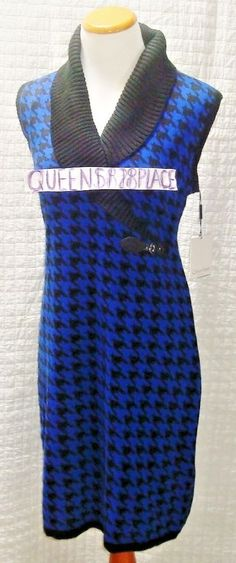 0f7a3ade584 New Calvin Klein women s Size L Large Blue Black Wool Sleeveless Sweater  Dress  CalvinKlein