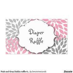 Boleto de la rifa de la dalia o tarjeta rosado y g tarjetas de visita