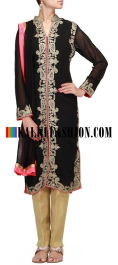 Buy Online from the link below. We ship worldwide (Free Shipping over US$100) http://www.kalkifashion.com/straight-suit-in-black-embroidered-in-aari-work.html Straight suit in black embroidered in aari work