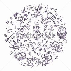 old-school-tattoo-elements-cartoon-tattoos-in-funny-style-anchor-dagger-skull-flower-star-heart-diamond-scull-and-swallow_151125464.jpg (450×450)