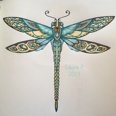 Take a peek at this great artwork on Johanna Basford's Colouring Gallery! Dragonfly Images, Dragonfly Wall Art, Dragonfly Tattoo Design, Dragonfly Clipart, Javi Wolf, Dragonfly Illustration, Enchanted Forest Coloring Book, Johanna Basford Coloring Book, Painted Gourds