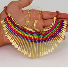 Indian Bollywood Multi Color Thread Necklace Jewellery Free Shipping PN130MLT