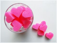 DIY - Heart shaped sugar cubes Valentine Heart, Valentines, Colored Sugar, Pink Images, Tea Party Decorations, Sugar Candy, Sugar Cubes, I Believe In Pink, Everything Pink