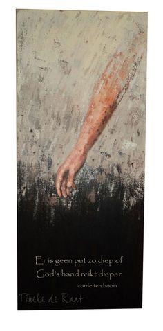 """Tineke de Raat: schilderij """"Hand van God"""", geïnspireerd door de uitspraak van Corrie ten Boom. Er is geen put zo diep, of God's Hand reikt dieper. Meer over Corrie ten Boom en dit schilderij is te lezen op: http://tinekederaat.blogspot.nl/2011/07/geen-put-zo-diep.html"""