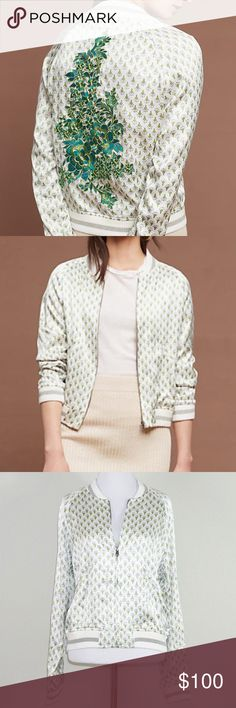 """Tiny Editions for Anthropologie Embroidered Bomber Tiny editions for Anthropologie Embroidered Bomber Jacket. NWT $158. Silky soft. Lightweight. Zip front. Slant pockets.  Fabric: 100% Viscose Length: 22"""" Pit to Pit: 20.5"""" Condition: NWT Anthropologie Jackets & Coats"""