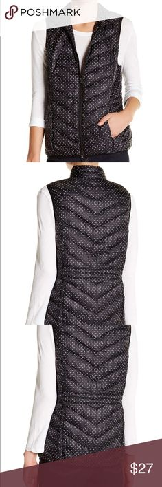 NWT polka dot vest joe Fresh size S PRICE FIRM- NWT joe fresh lightweight puffer vest. Stand up collar, front zip closure, approx. 27in. Shoulder to hem. Model is wearing size small - she is  is 5'9, bust 34, waist 24, hips 35. Purchased at Nordstrom Joe Fresh Jackets & Coats Vests