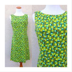 Mod Op Art 60s Shift Dress Vintage Twiggy Psychedelic Go Go Retro 1960s Mad Men Mini Dress Geometric Green Circles Sheath Dress Size Medium