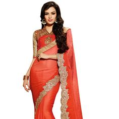 Shaded #Orange Faux Satin #ChiffonSaree with Blouse