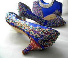 Peacock Wedding shoes  peacock bag  Swarovski by norakaren on Etsy