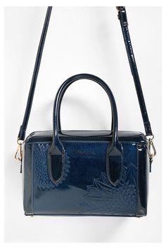 Blauwe lakleren handtas | Desigual.com