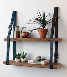 Gorgeous DIY leather belt & wood shelves from Design Sponge. Diy Hanging Shelves, Pallet Shelves, Wood Shelves, Diy Shelving, Unique Shelves, Floating Shelves, Hanging Bookshelves, Easy Shelves, Garage Shelving