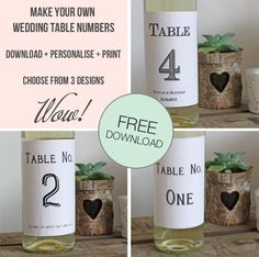 Free Download: Printable Wedding Table Numbers Template For Wine Bottles