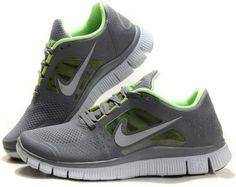 best sneakers b4529 ac68f Womens Nike Free Run + 3 Dark Grey SpringGreen Shoes Running Sneakers, Grey  Sneakers,
