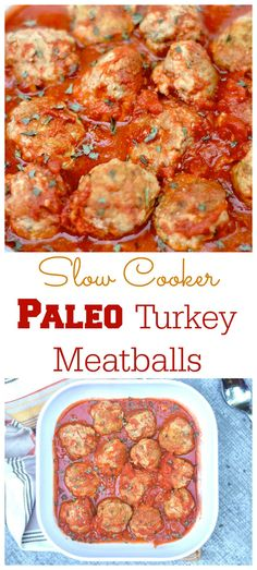 Slow Cooker Turkey Meatballs // gf & paleo #protein