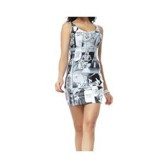 Sleeveless Scoop Neck Low Cut Star Wars Manga Pattern Beam Waist... (710 PHP) ❤ liked on Polyvore featuring dresses, as the picture, no sleeve dress, mixed print dress, pattern dress, low cut dresses and scoop neck dress