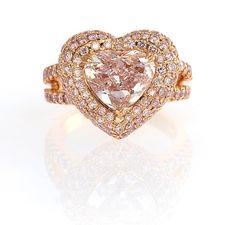 Leibish & Co. heart-shape pink diamond ring